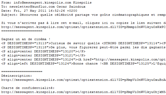 La version texte de l'Email
