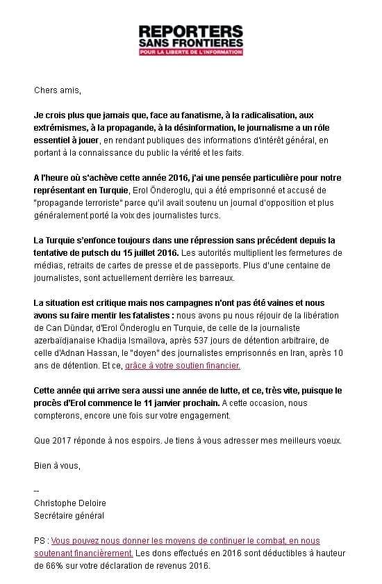 Newsletter Reporters Sans Frontières