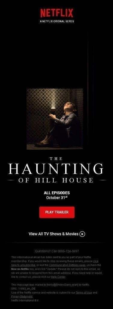Email Netflix - The Haunting of Hill House