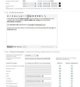 Configuration d'un formulaire d'inscription