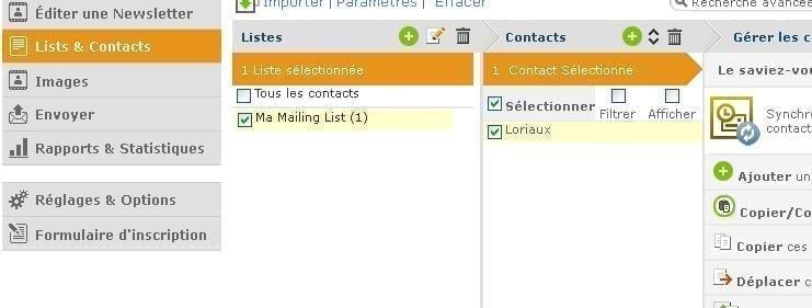 Configuration Liste Grapgicmail