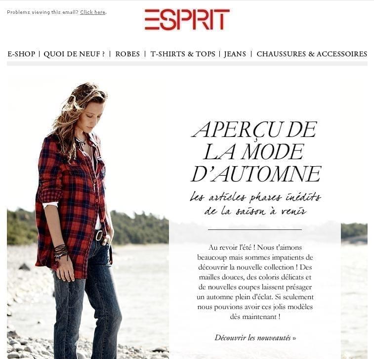 La newsletter Esprit avec les images