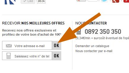 Formulaire d'inscription à la newsletter de La Redoute