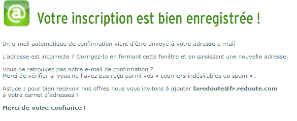 """Confirmation de l'inscription via le formulaire de Newsletter """"Light"""""""