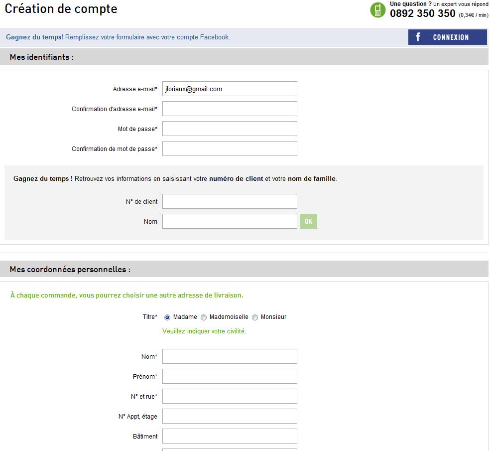 2eme étape du formulaire d'inscription