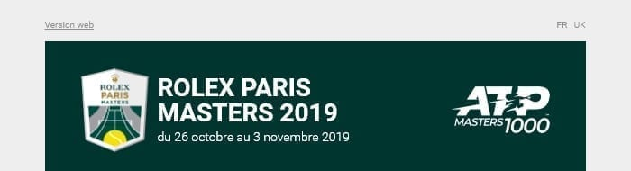Header emails Rolex Paris Masters 2019